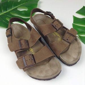 Birkenstock Milano Nubuck Cocoa Leather Sandal
